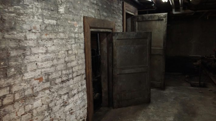 Old-timey elevator pit access doors