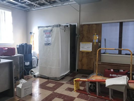 Entrance to asbestos removal area.