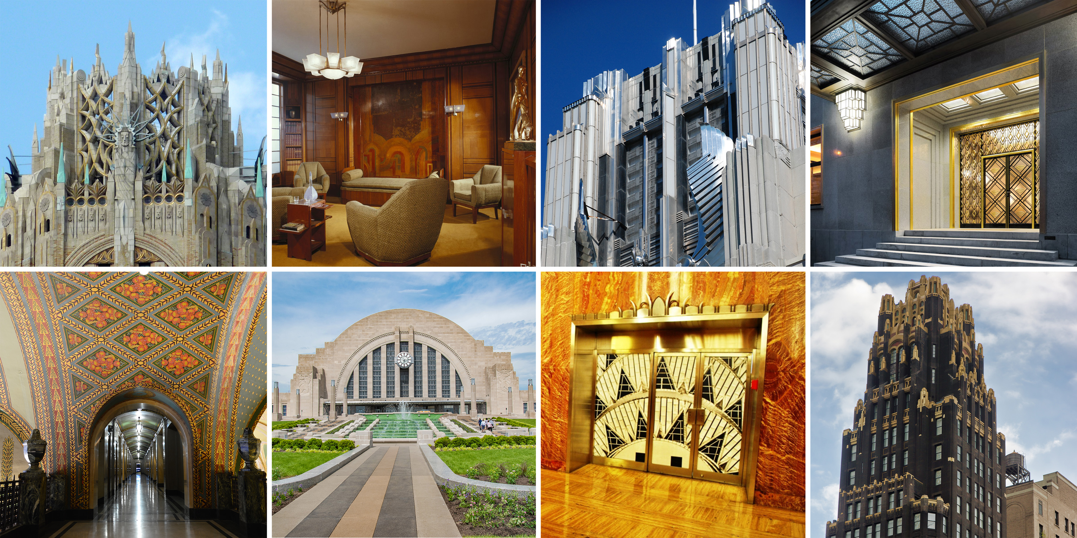 collage of images that represent the Art Deco style