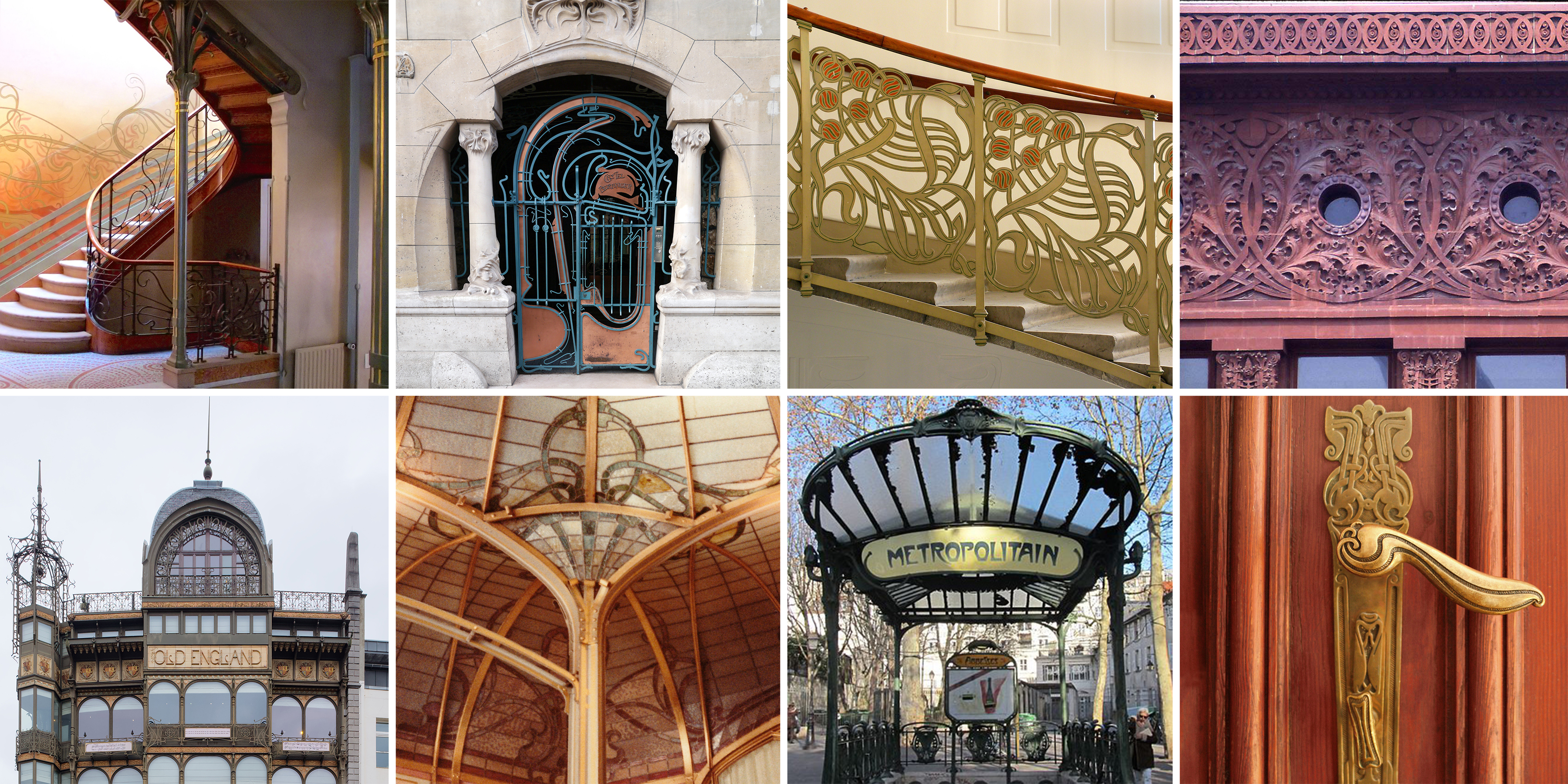collage of images that represent the Art Nouveau style