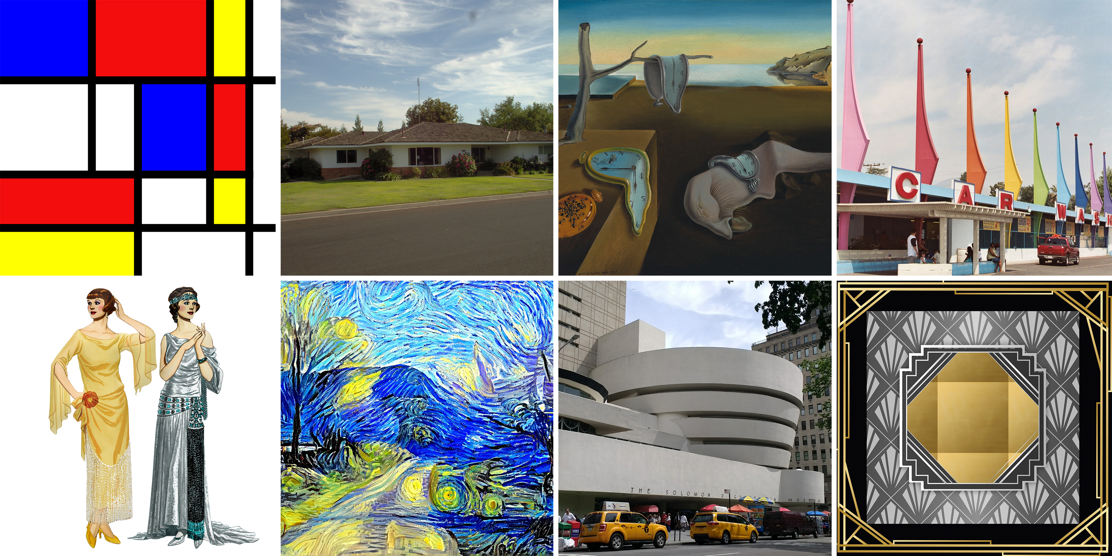 collage of art and buildings that are mistaken for Art Noiveau