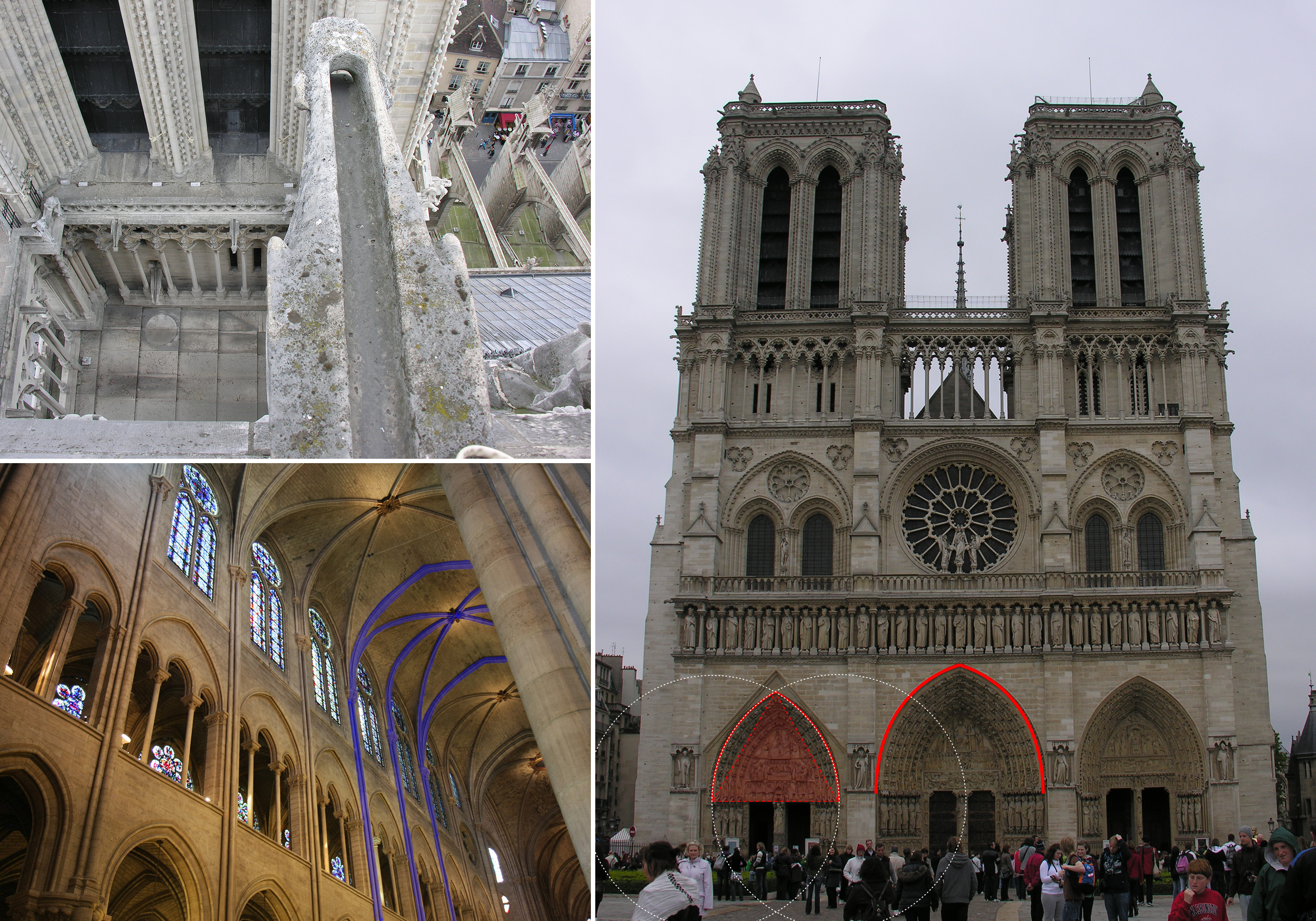 rib vaults and other architectural details at Notre-Dame