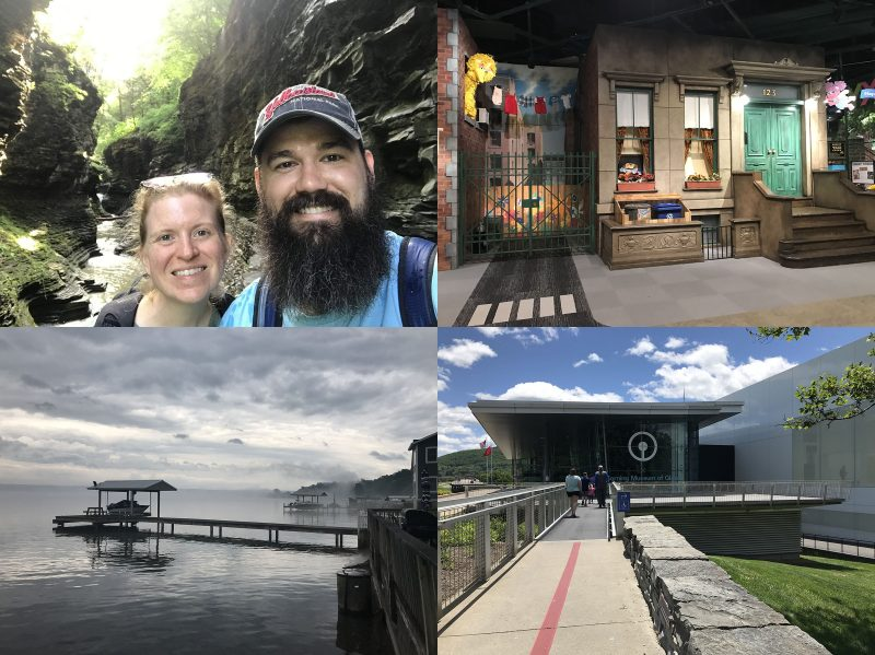 Gratuitous vacation photos (clockwise: Watkins Glen, Strong Museum of Play, Corning Museum of Glass, Boat dock at the rental house)