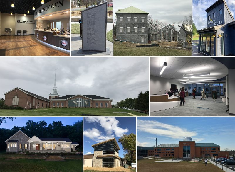 Collage of completed buildings