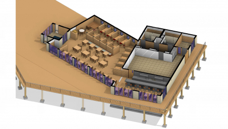 3D floorplan of a restaurant