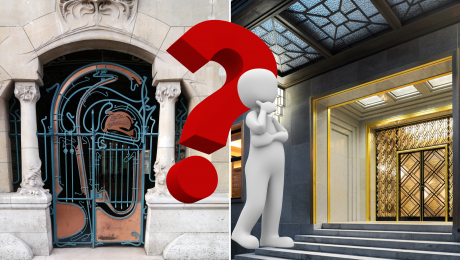 figure in front of 2 different buildings with a large question mark