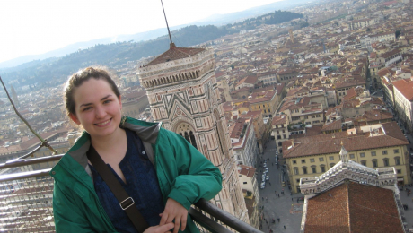 Standing on the top viewing platform of the Duomo di Firenze lantern
