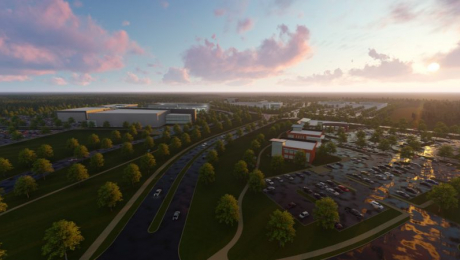 computer rendering of office park