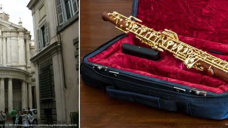 a Baroque building and an oboe
