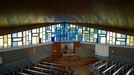 stained glass windows at Boghall Church