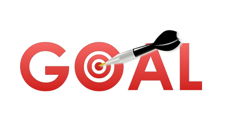 the word goal with a bullseye for the O and a dart hitting the center