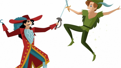 Animation of Captain Hook and Peter Pan
