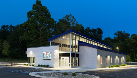 exterior night image of the exterior of Patriot Federal Credit Union in Hagerstown, MD