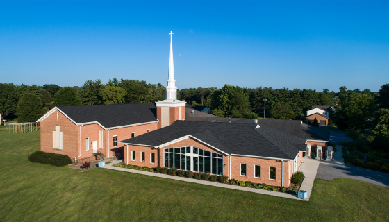 aerial image of Saint Andrew Presbyterian Church in Williamsport, MD