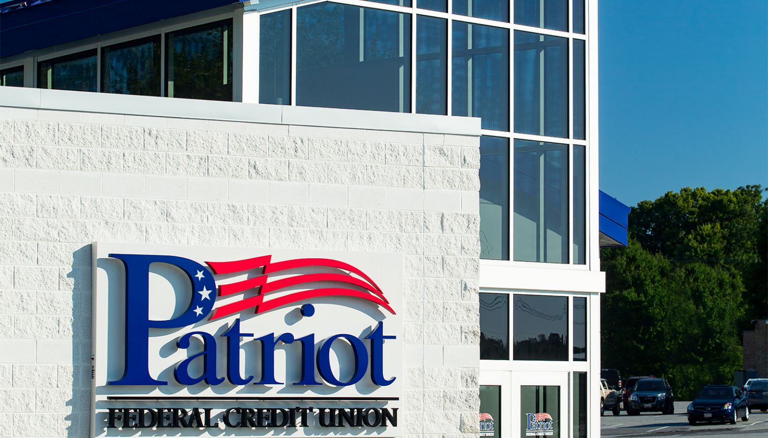 glass entry of Patriot Federal Credit Union in Hagerstown, MD