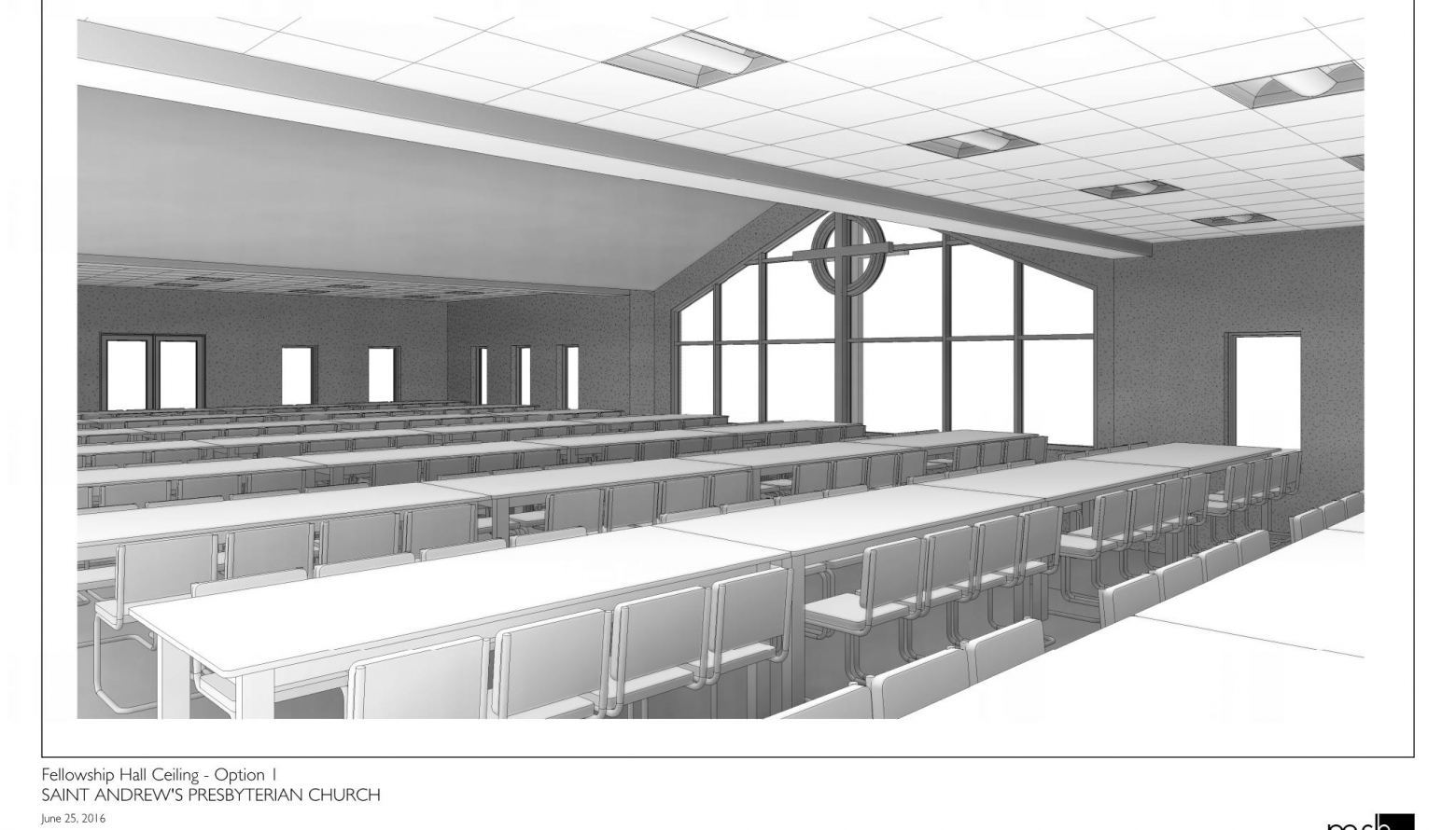 rendering of social hall for St. Andrew Presbyterian Church